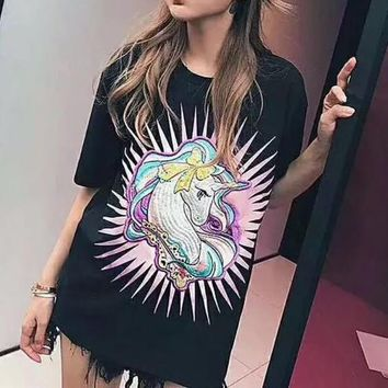 Moschino Women Fashion Noctilucent Unicorn Embroidery Tunic Shirt Top Blouse
