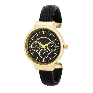Reyna Gold Leather Cuff Watch - Black and 3 more colors