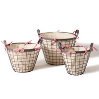 Adeco Round Bucket/Basket with Wide Rim and Red/White Checkered Ribbon Home Decor, Set of 3