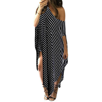 Beach dress long cover-ups womens beachwear sexy swim Cover Up Black White Skew Neck Off-shoulder Striped Asymmetric Hem 61281