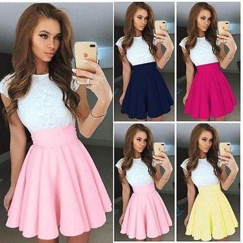 Summer 2017 Womens Party Cocktail Mini Skirt Ladies Bubble Skater Skirt Ball Gown