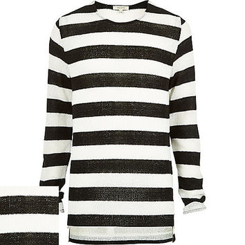 River Island MensBlack stripe zip side stepped hem sweater