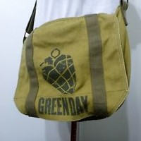 Green Day HEART GRENADE canvas messenger bag military stylepreowned