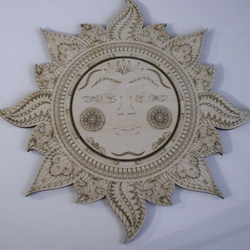 Sun Face Wood Shape, Laser Engraved, Unfinished Wood, Woodcrafting Pieces, Wood Shapes, Home Decor, Sun Wall Art, Wreaths, Decorative Wood