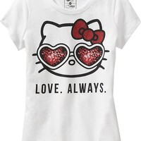 "Old Navy Girls Hello Kitty ""Love Always"" Tees Size L - White"
