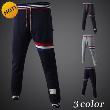 New 2017 Indoor Elastic Waist Stripe Karen Stripe Baggy Traning foot beam Track Harem Pants Men Fitness Men's SweatPants