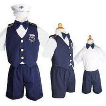 Baby Boy Christening Captain Sailor Dress Outfit Sizes S-xl /#606