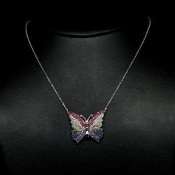 Natural Gemstone Butterfly Pendant Necklace