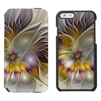Abstract Colorful Fantasy Flower Modern Fractal iPhone 6/6s Wallet Case