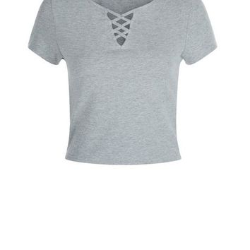 Teens Grey Lattice Front T-Shirt