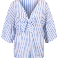 Blue Stripe V-Neck Tie Front Ruffle Sleeve Loose Blouse