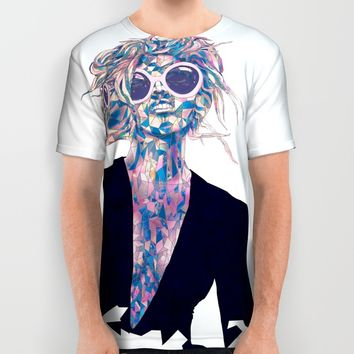Pastel Light Four Eyes All Over Print Shirt by Ben Geiger