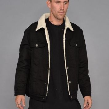 Bull Denim Borg Lined Jacket (Black)