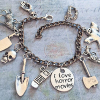 I Love Horror Movies Charm Bracelet, Fandom Jewelry, Horror Movies Jewelry, Slasher Movies Jewelry, Ghost Jewelry, Scary Movies Jewelry
