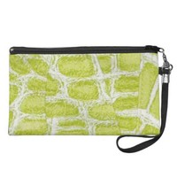 Lime Alligator Print Wristlet