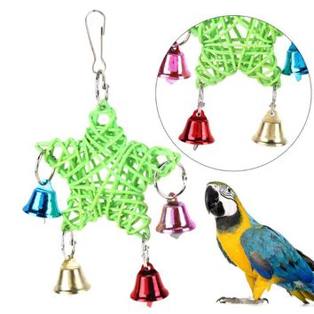 Parrot Toys Bell Hanging Swing Parrot Bites Climb Chew Toys Cage Accessories.
