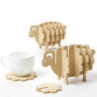 Cute Non-slip Wooden animal shapes coasters coffee cup Mat Home Decor DIY handmade coaster