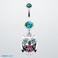 Whimsical Owl Sparkle Belly Ring