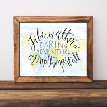 Map Adventure Print, Daring Adventure, Adventure quote, travel quote, wanderlust, dorm art, dorm decor