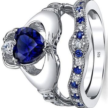 Sterling Silver 925 Irish Claddagh Friendship & Love Engagement Wedding Ring Sets Simulated Sapphire Blue Heart CZ Cubic Zirconia
