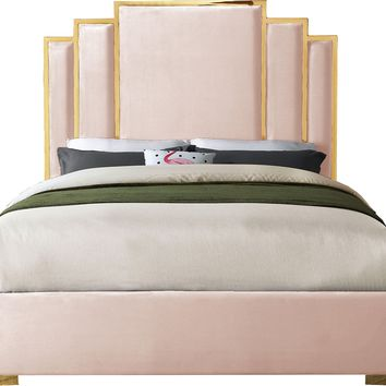 Hugo Pink Velvet Queen Bed