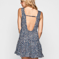 Mine Ditsy Print Open Back Dress Navy  In Sizes