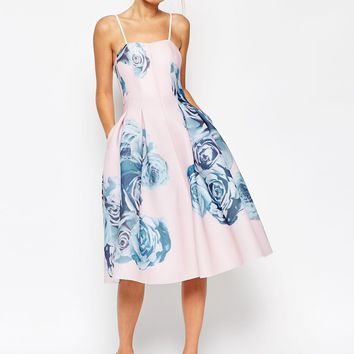 ASOS SALON Rose Printed Mesh Bandeau Dress