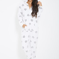 FOREVER 21 Plush Heart-Printed Onesuit Cream/Grey