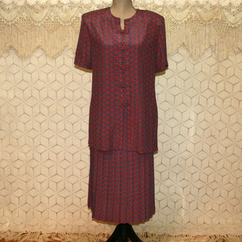 Short Sleeve Pleated Day Dress Large 2 Piece Skirt Set Red Blue Print Midi Dress 90s Leslie Fay Size 14 Vintage Clothing Womens Clothing