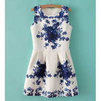 White Floral Jacquard Dress