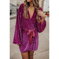Rose Sparkling Sequin Dotted Long Sleeve Wrap Mini Dress