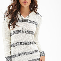 FOREVER 21 Hooded Striped Sweater Cream/Black