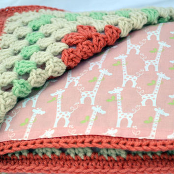 Coral and mint giraffes crochet baby blanket, granny square reversible crochet baby blanket