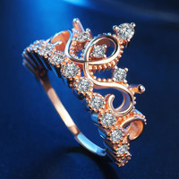 Women Rose Gold Rhinestone Crown Ring