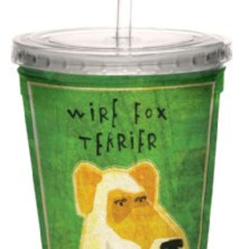 Tree-Free Greetings cc33992 Wire Fox Terrier by John W. Golden Artful Traveler Double-Walled Cool Cup with Reusable Straw, 16-Ounce