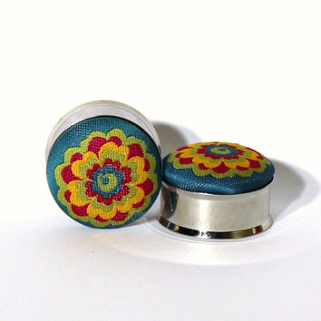 Funky Fabric Flower Plugs 7/8 1 Inch 22mm 25mm