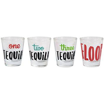 Cheers Shot Glass Set 4 Piece Drinking Game Funny tequila themed Glasses