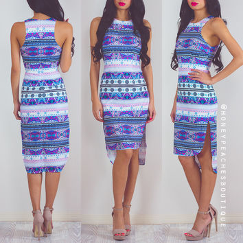 You're All That I Need Dress - Purple / Blue