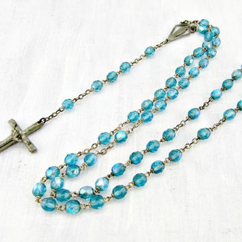 Vintage LONG Catholic Rosary Necklace, Blue Glass Crystal Rosary Necklace, Silver Rosary Necklace, 1960s Christian Religious Jewelry