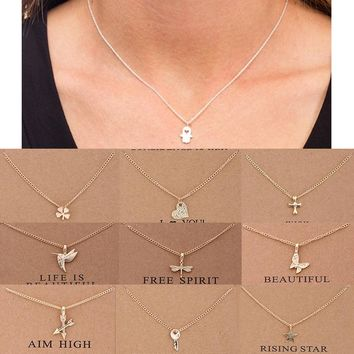 1PC Fashion Women Necklaces Pendants Include Card 10 Styles Charm Unicorn Clavicle Chains Choker Chic