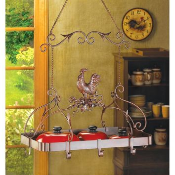 Country Rustic Rooster Hanging Iron Pot Rack