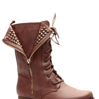 Unzip the Gold Cognac Faux Leather Lace Up Boots