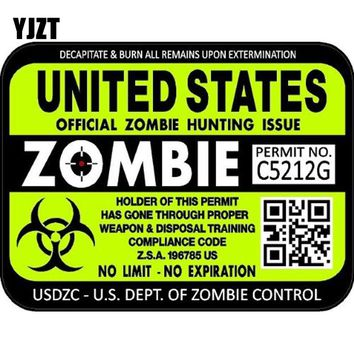 "YJZT 15.5x11.8cm ZOMBIE Series ""United States"" Hunting License Permit Retro-reflective Decal Car Sticker C1-8058"