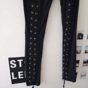 Black Stretch Leggings With Lace Up Detail At Back Of Legs