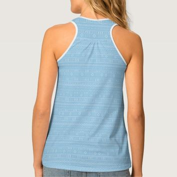 Carolina Blue Modern Mudcloth Tank Top