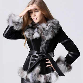 2018 New Fashion Women Real Fox Fur Coat Pig Leather Jacket With Fox Fur Collar Winter Warm Fox Fur Coat Free Shipping