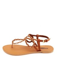 Looped & Braided Metallic Thong Sandals by Charlotte Russe - Cognac