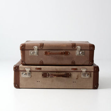 vintage luggage set, pair of suitcases