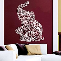 Wall Decal Elephant Vinyl Sticker Decals Lotus Indian Elephant Floral Patterns Mandala Tribal Buddha Ganesh Om Home Decor Art Bedroom Design Interior C22