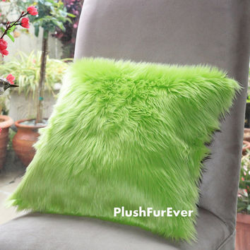 "17""x17"" Neon Green Luxury Shaggy Fur Pillows Faux Fake Fur Pillow (INSERT INCLUDED) Bedding Sofa Pillows decor"